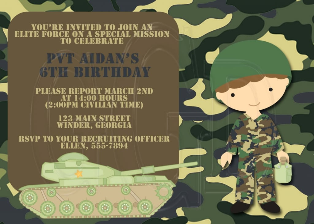 Kids Army Invitations