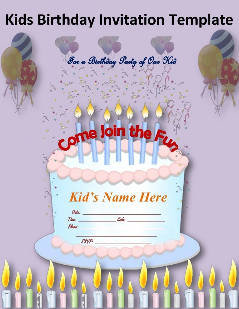 Kids Birthday Invitation Sample 3