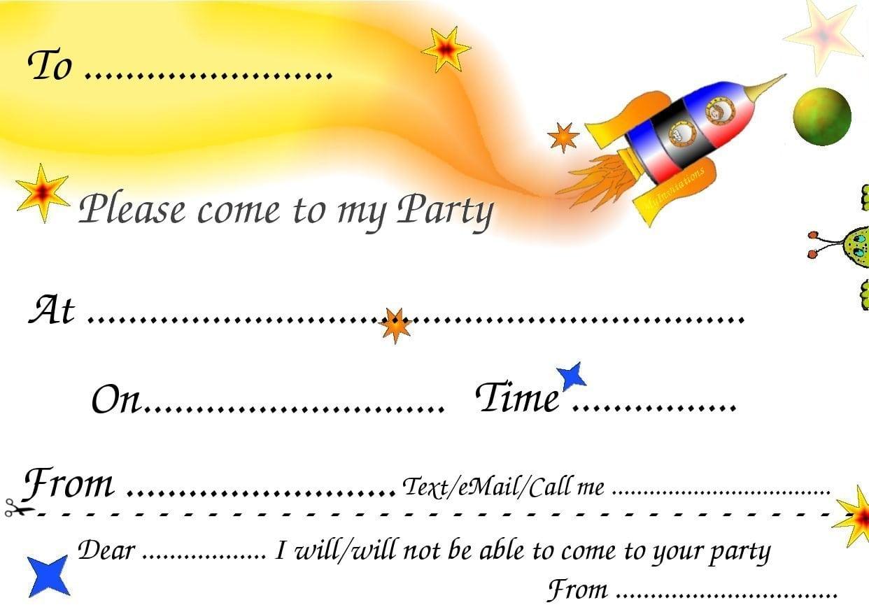 kids birthday party invites templates