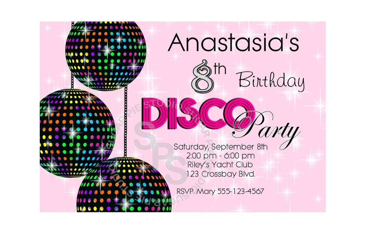 Free Printable Party Invites Disco Party