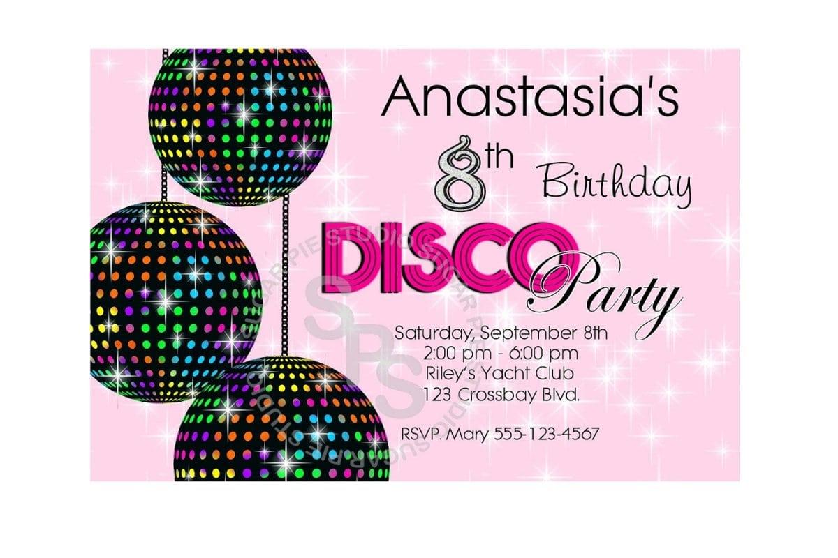 Kids Free Printable Party Invites Disco Party