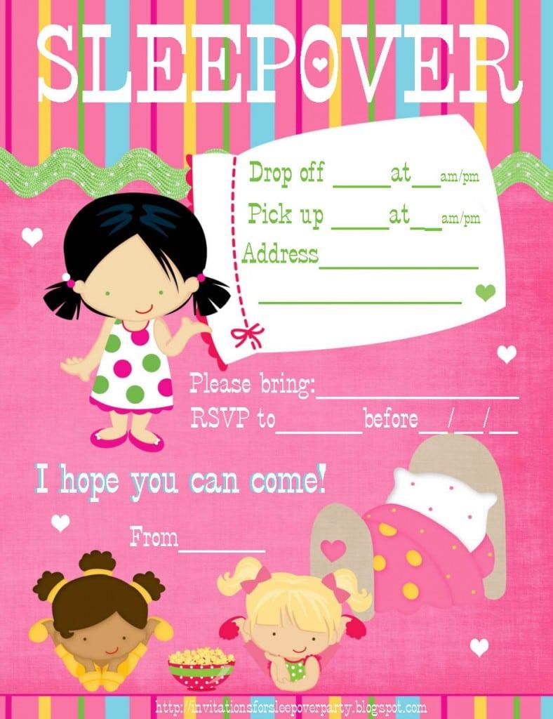 Kids Sleepover Invitations Free Printable