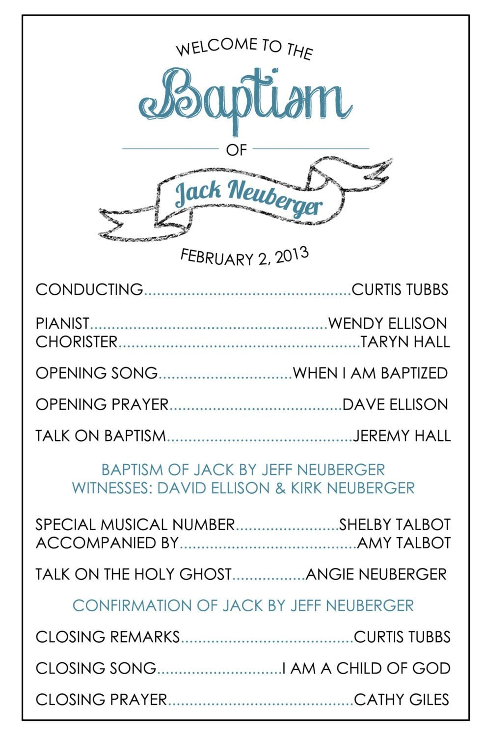 Permalink to Lds Baptism Program Template
