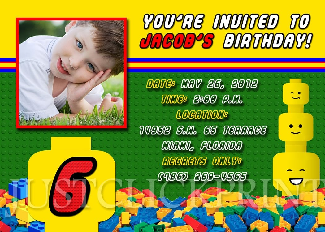 Lego Birthday Invitation Wording