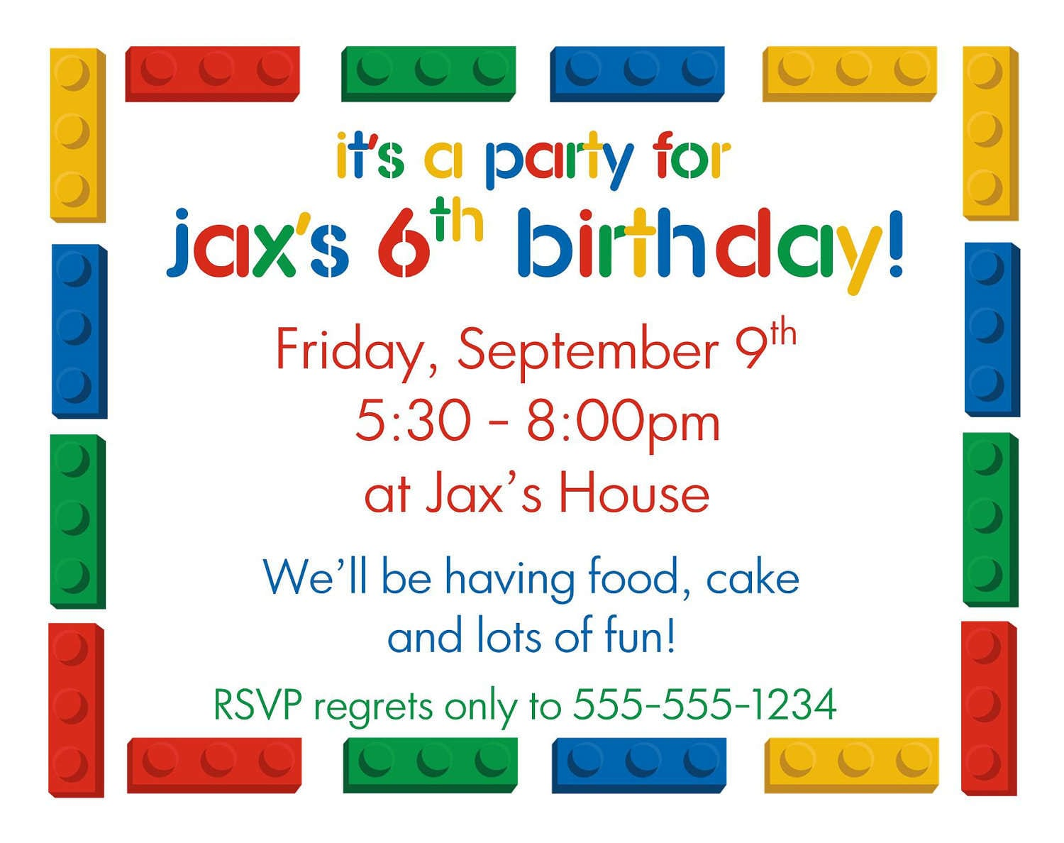 Lego Free Invitation Template