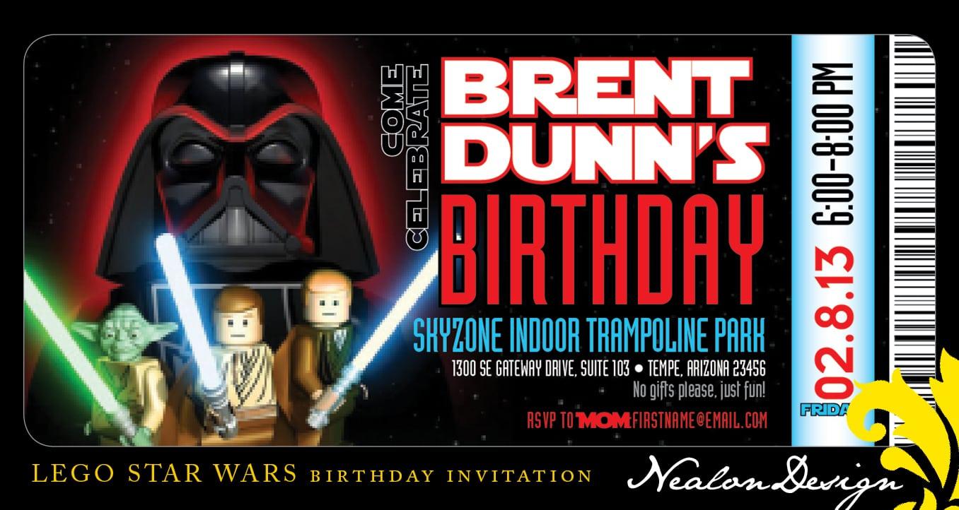 Lego Star Wars Birthday Invitations Personalized