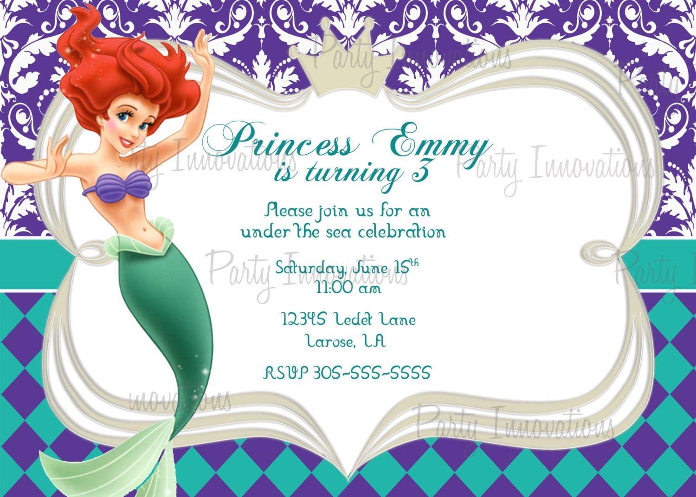 little mermaid birthday invite template
