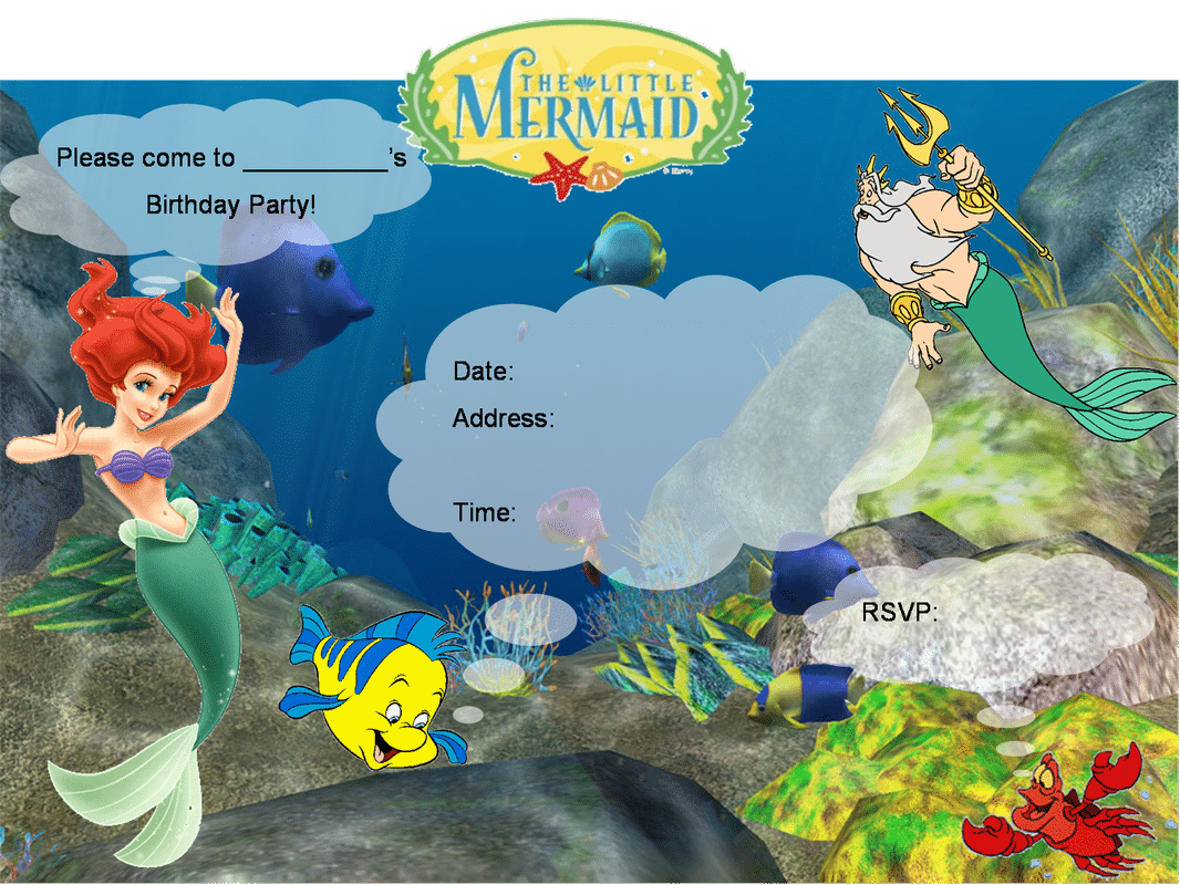 Little Mermaid Birthday Invitation Templates Free