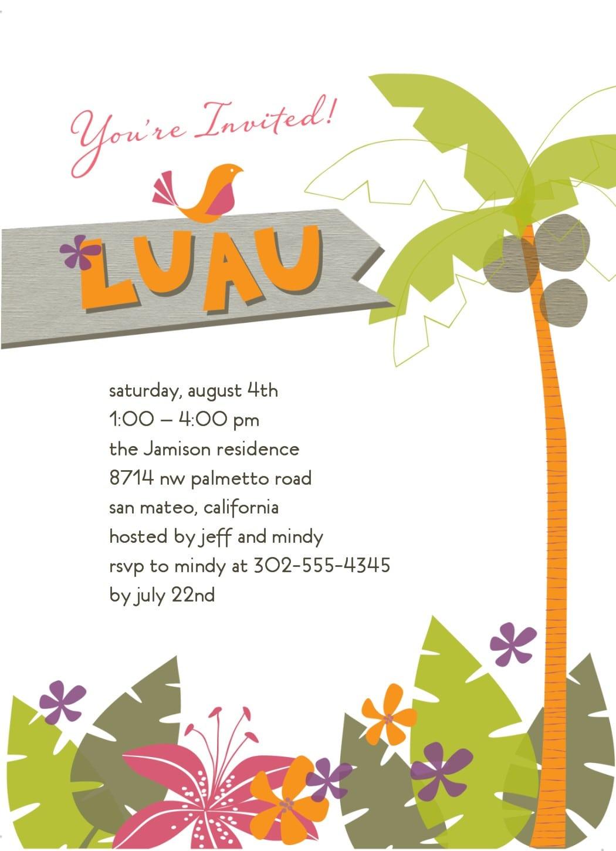 Luau Invitation Template Free