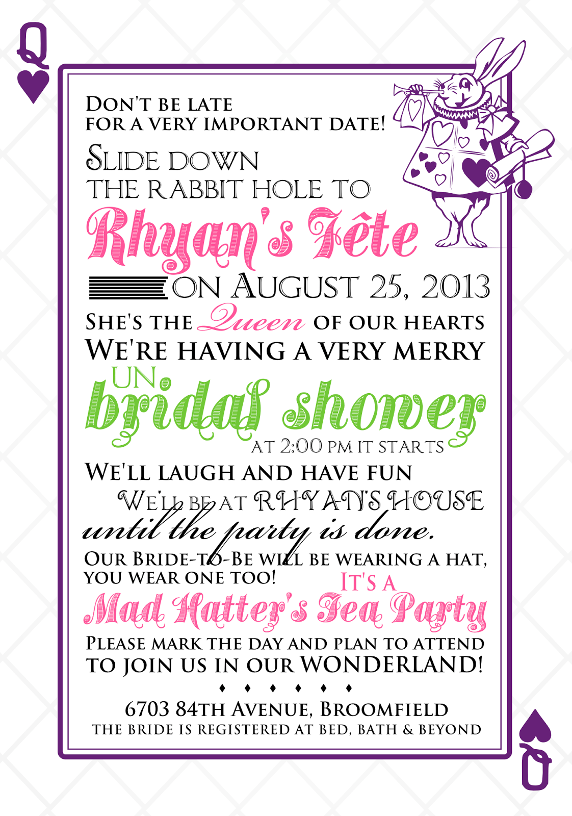 Mad Hatter Invitations Bridal Shower