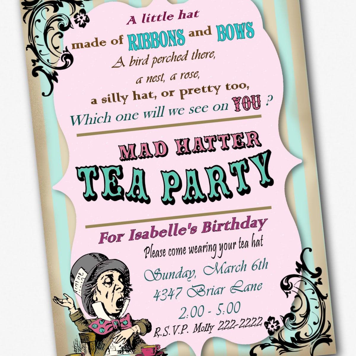 Mad Hatter Tea Party Printable Invitations
