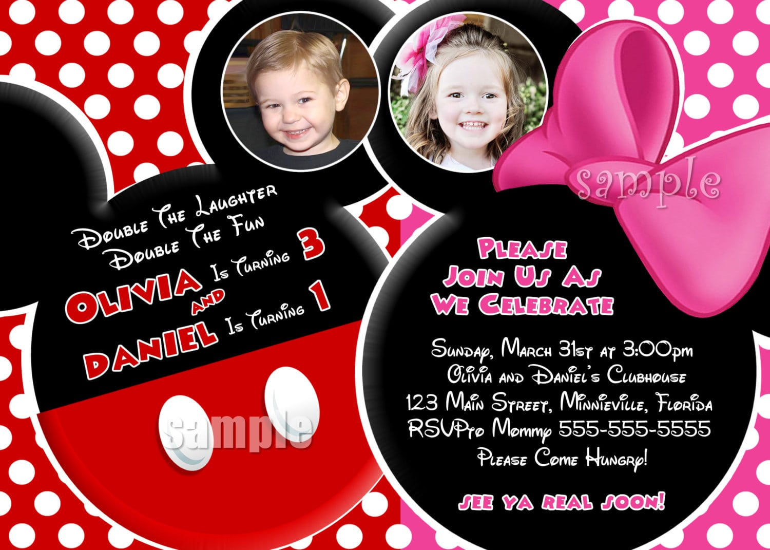 Mickey And Minnie Mouse Invitation Template