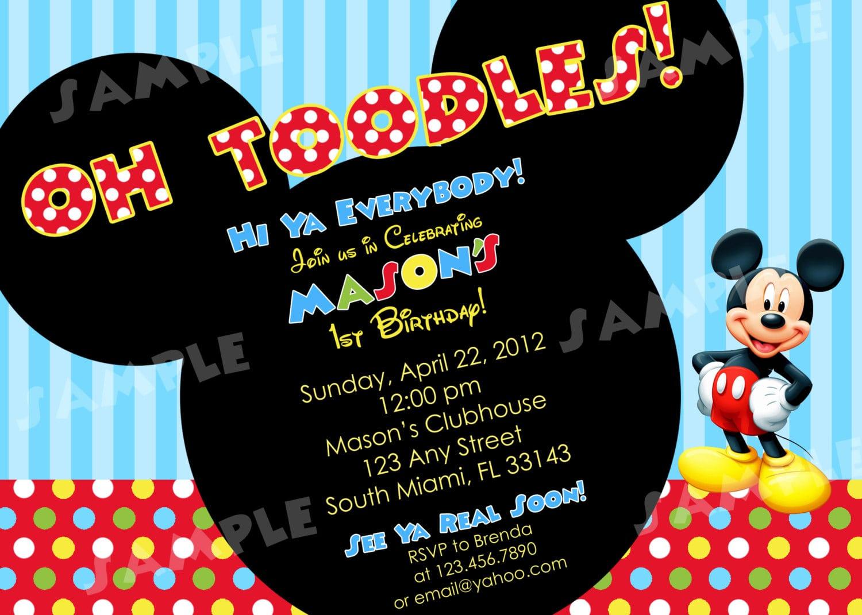 Mickey Mouse 1st Birthday Invitations Wording