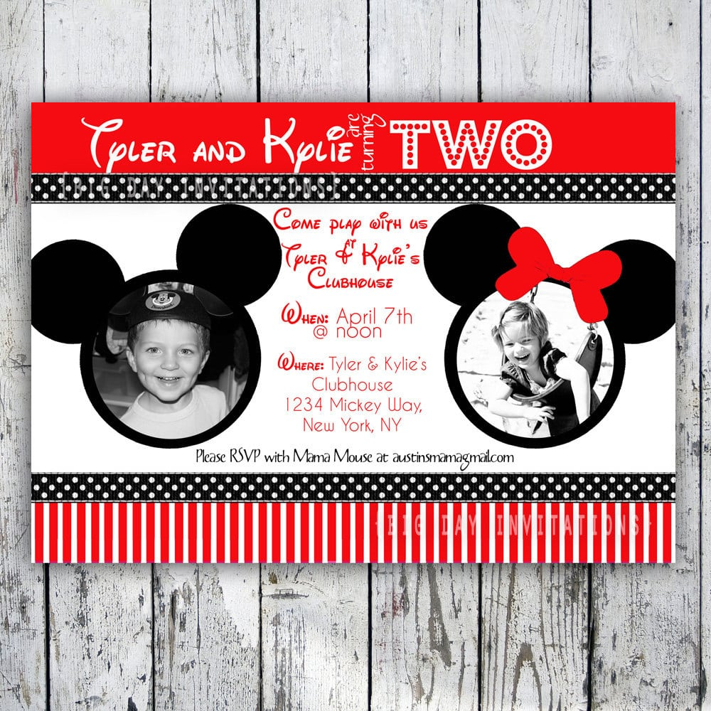 Mickey Mouse And Minnie Invitations Printables