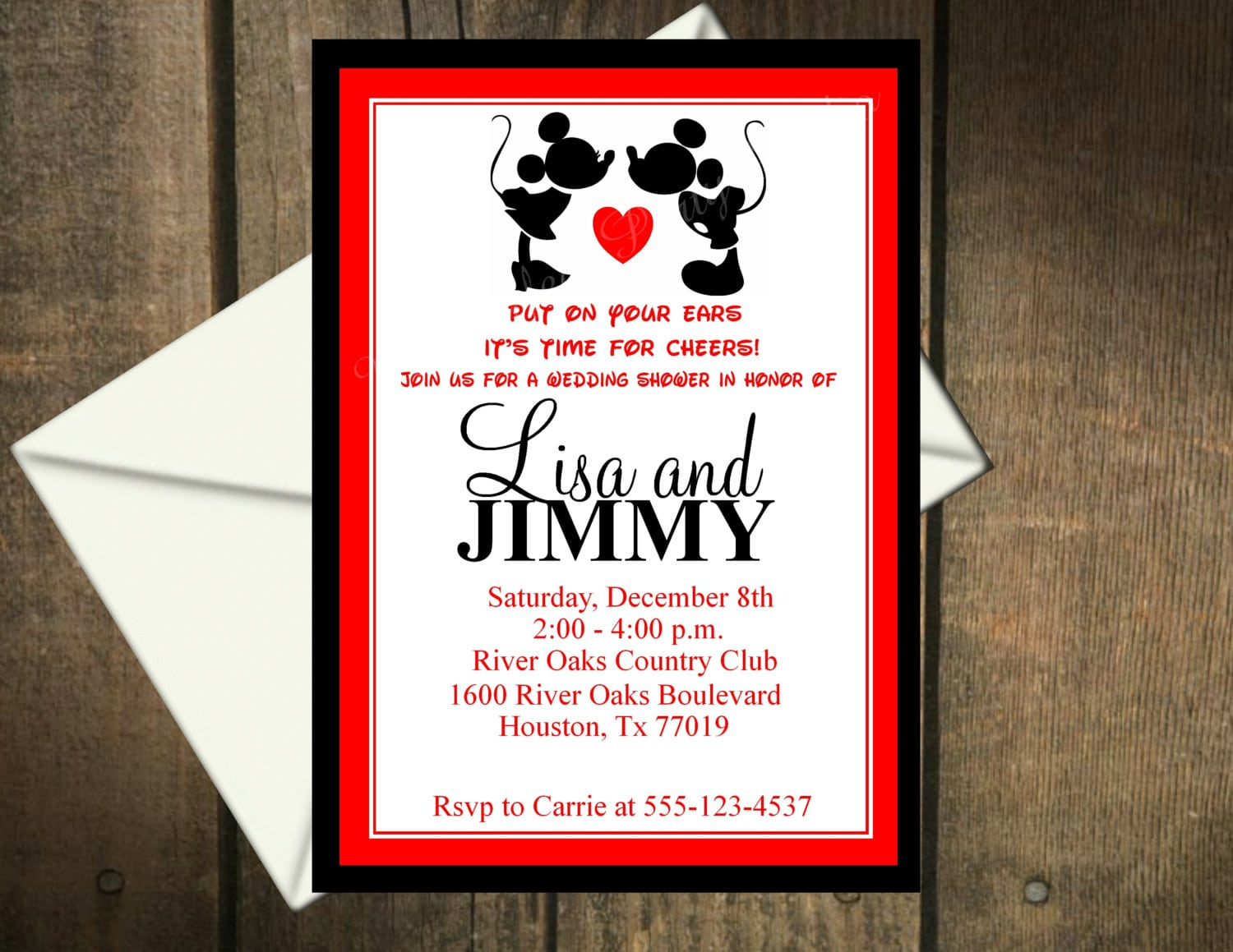 Mickey Mouse And Minnie Mouse Wedding Invitations