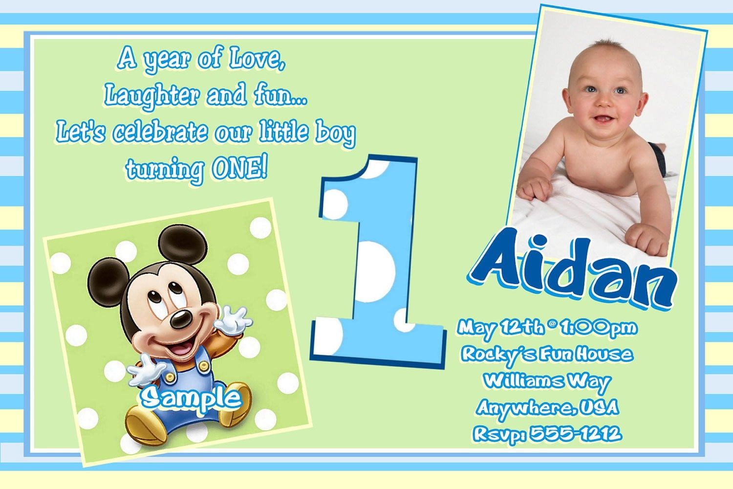Mickey Mouse Baptismal Invitation 2