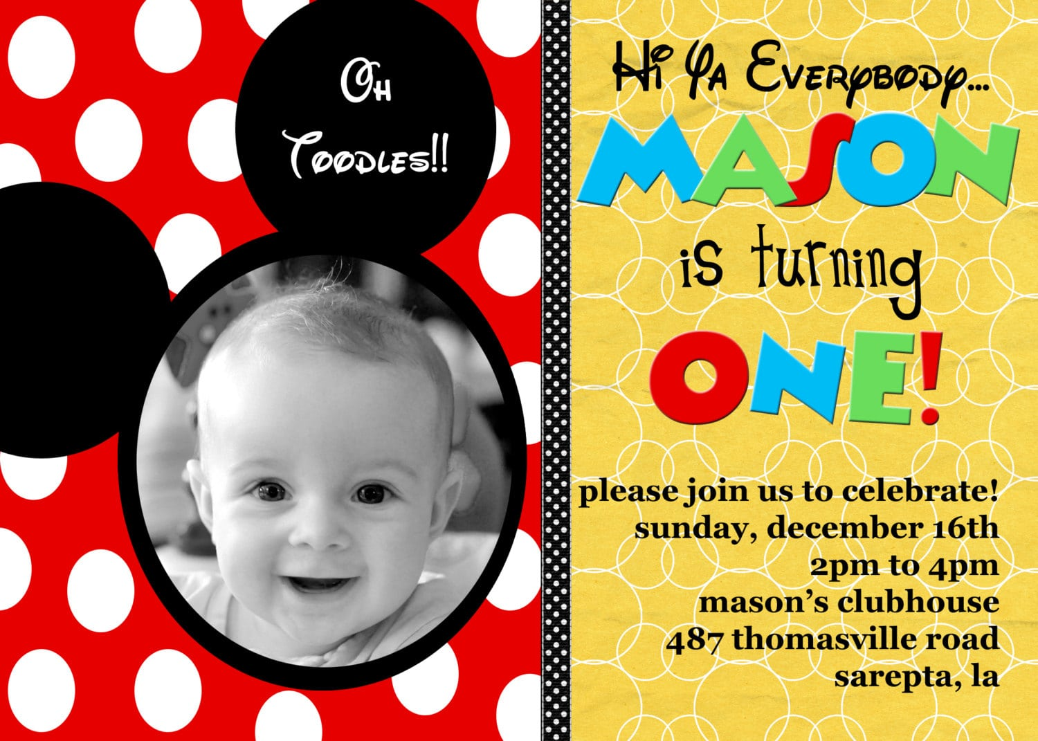 Mickey Mouse Birthday Invites Personalized