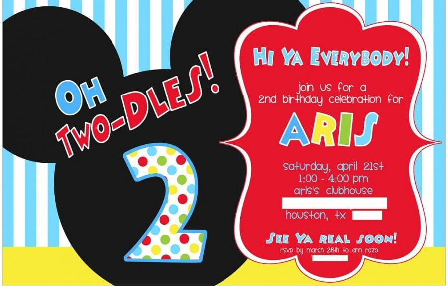 Mickey Mouse Birthday Party Invitation Flyer Template 4