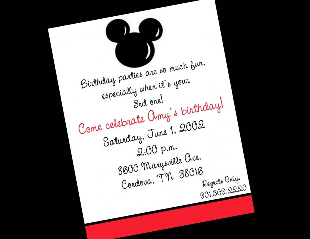 Mickey Mouse Birthday Party Ticket Invitation Templates