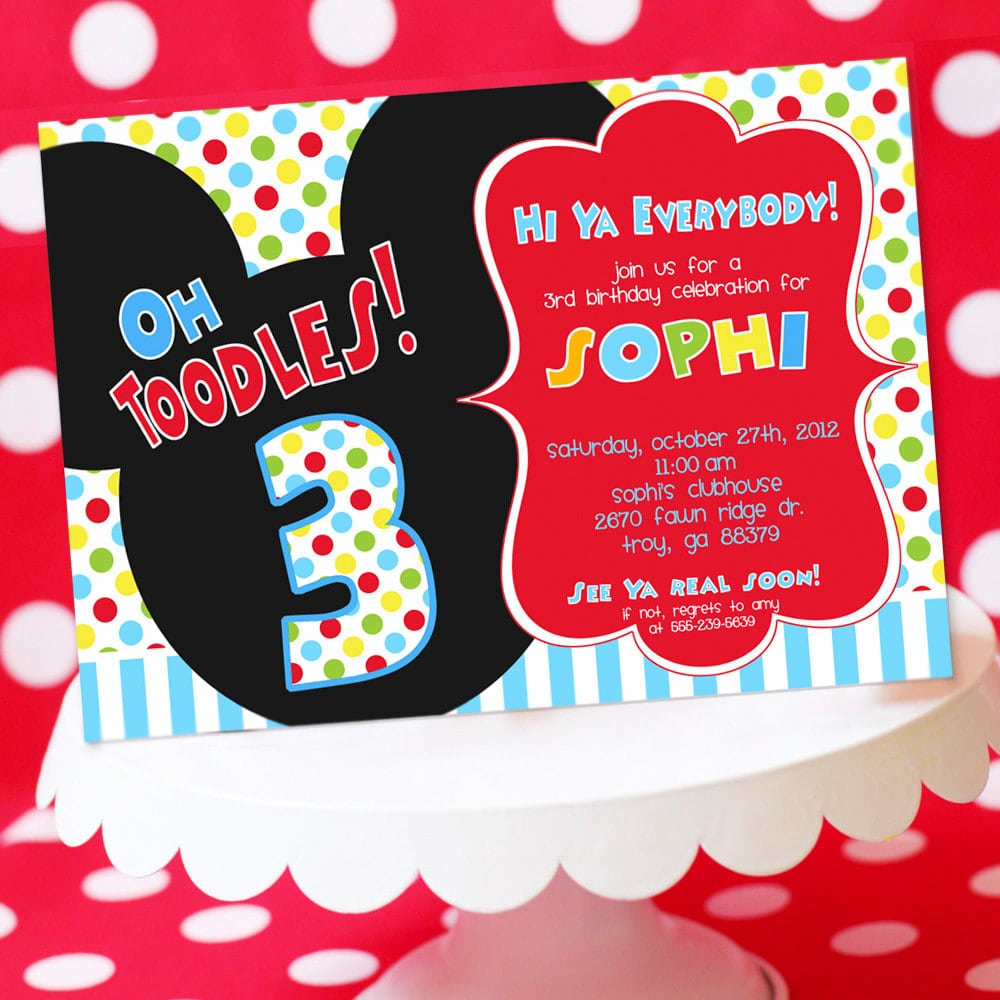 Mickey Mouse Clubhouse Invite Wording
