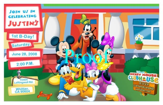 Mickey Mouse Clubhouse Party Invitations Printable 4