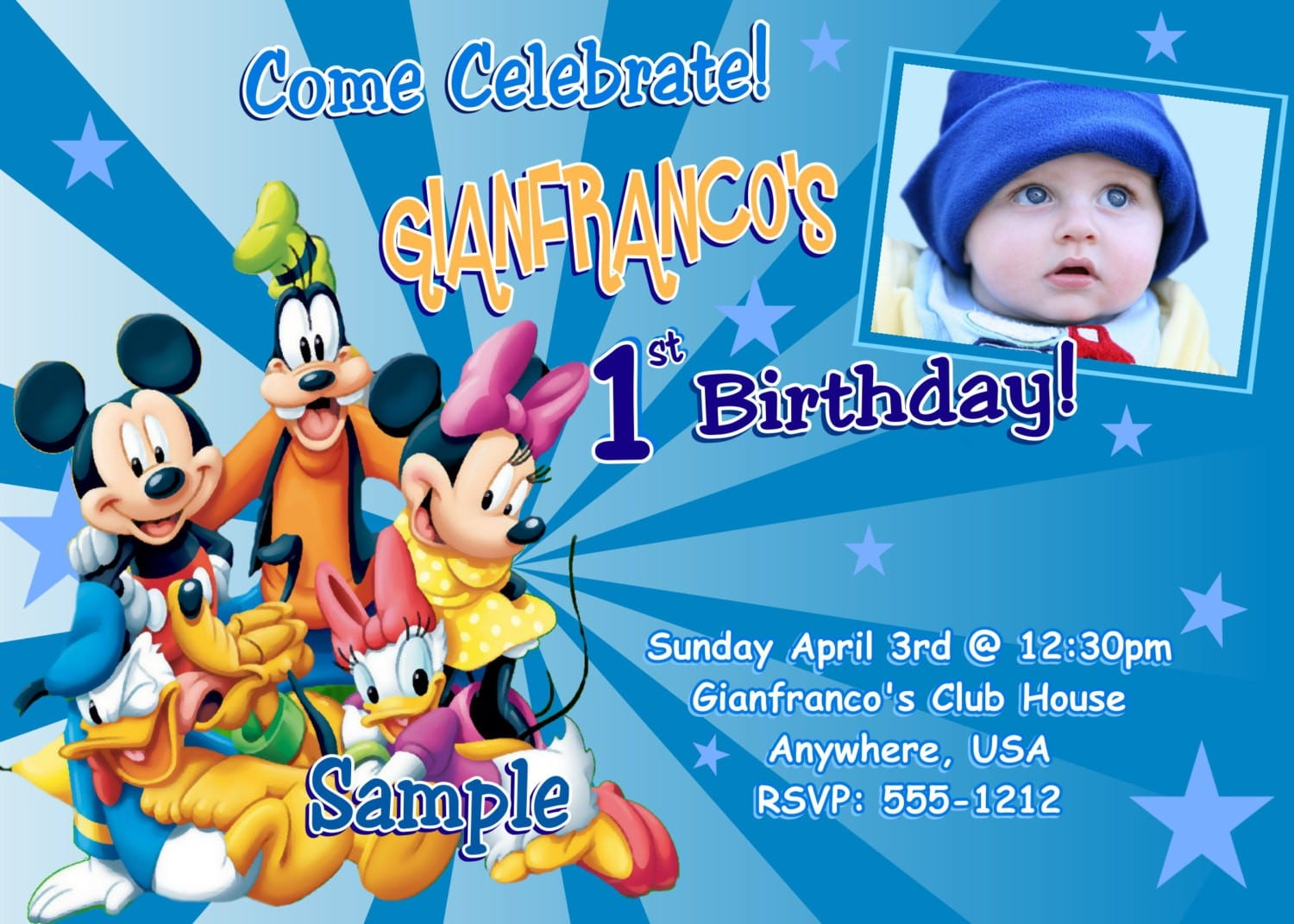 Mickey Mouse Clubhouse Sample Invitation