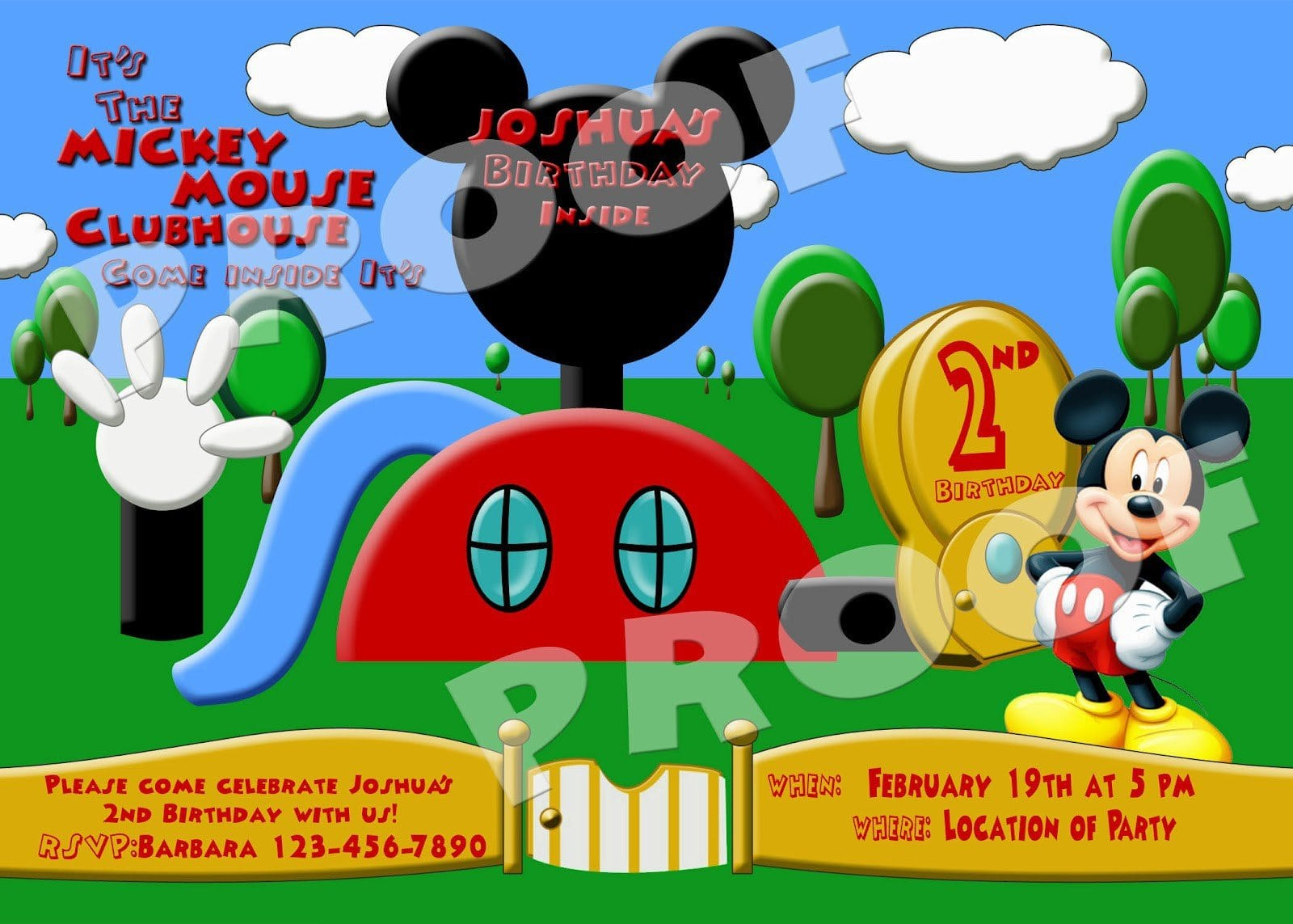 mickey mouse clubhouse ticket invitations free template