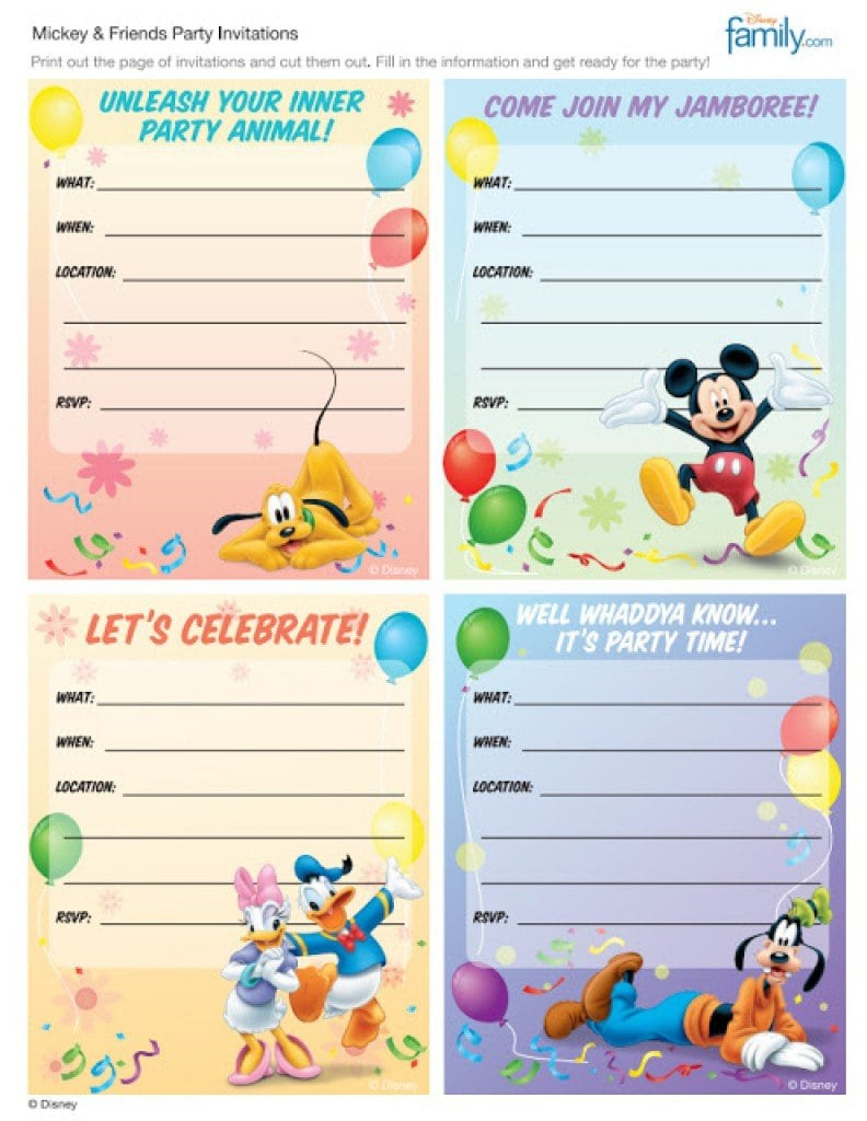 Mickey Mouse Free Birthday Invitations 2