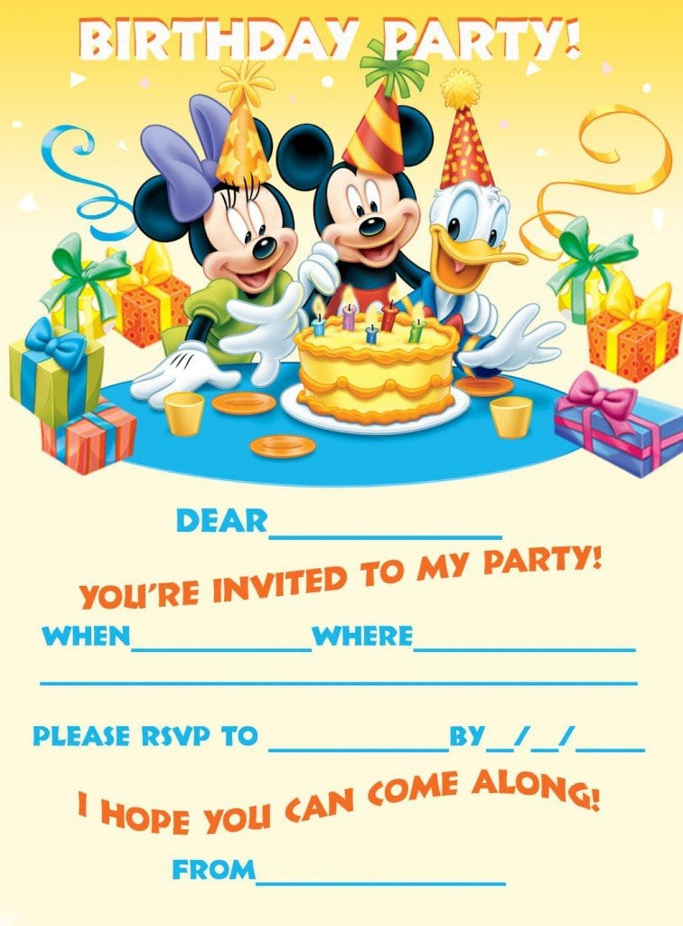 Mickey Mouse Free Birthday Invitations