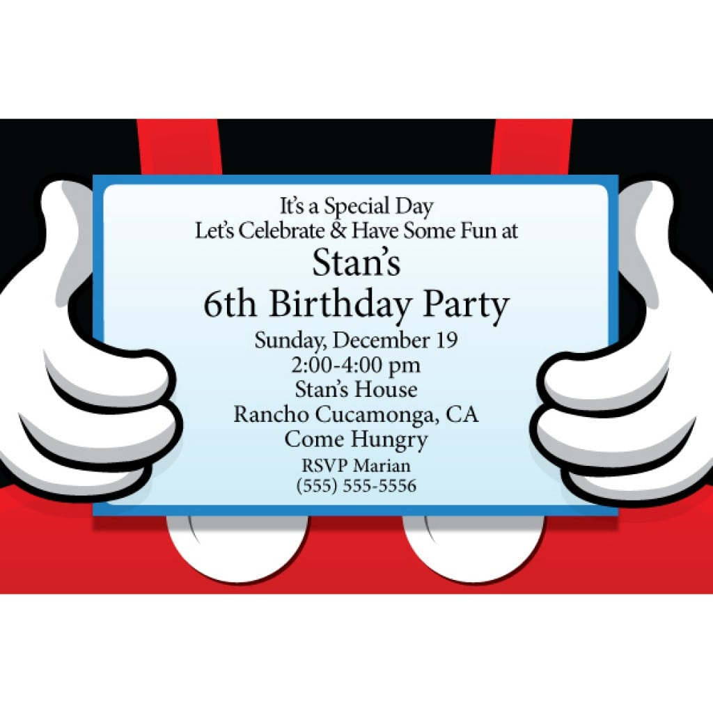 Mickey Mouse Invitation Free Template 2