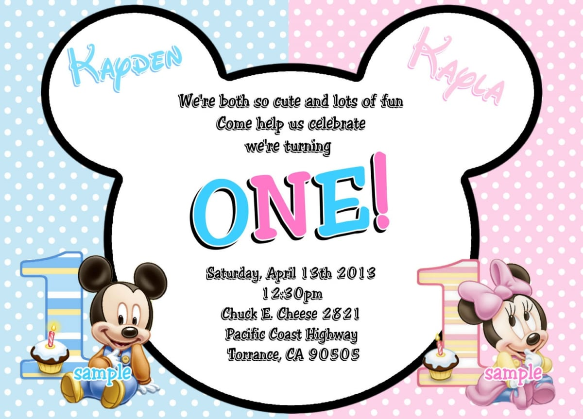 Mickey Mouse Minnie Mouse Baby Invitation