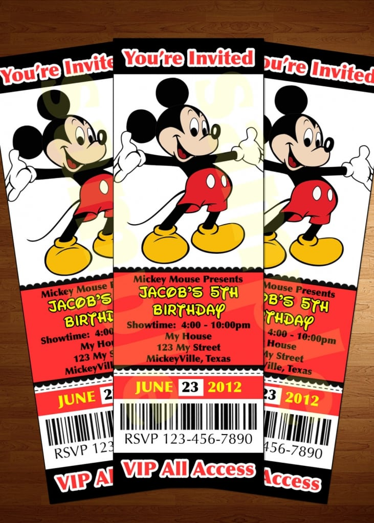 Mickey Mouse Ticket Invitations Template