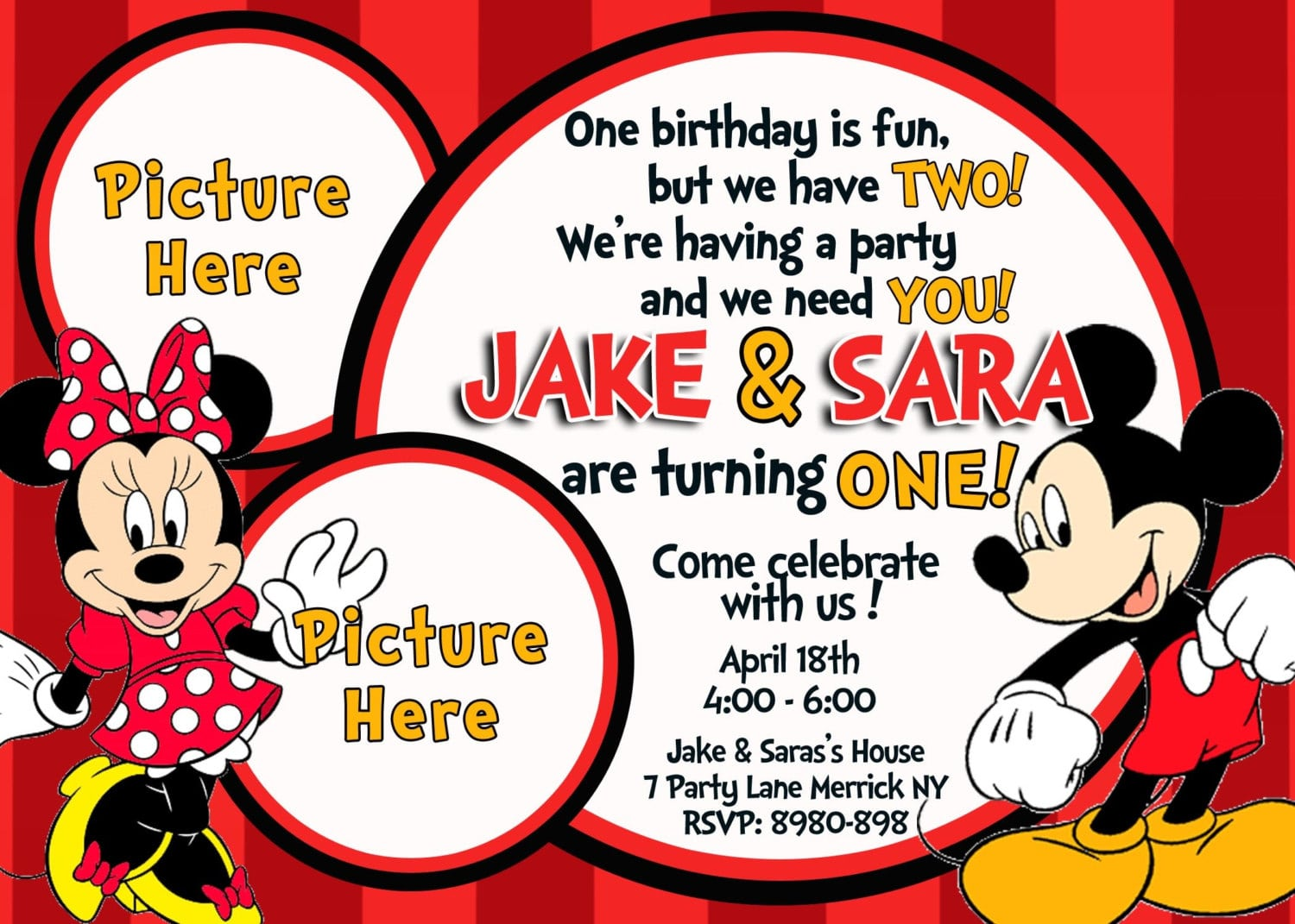 Minnie And Mickey Mouse Birthday Invitations