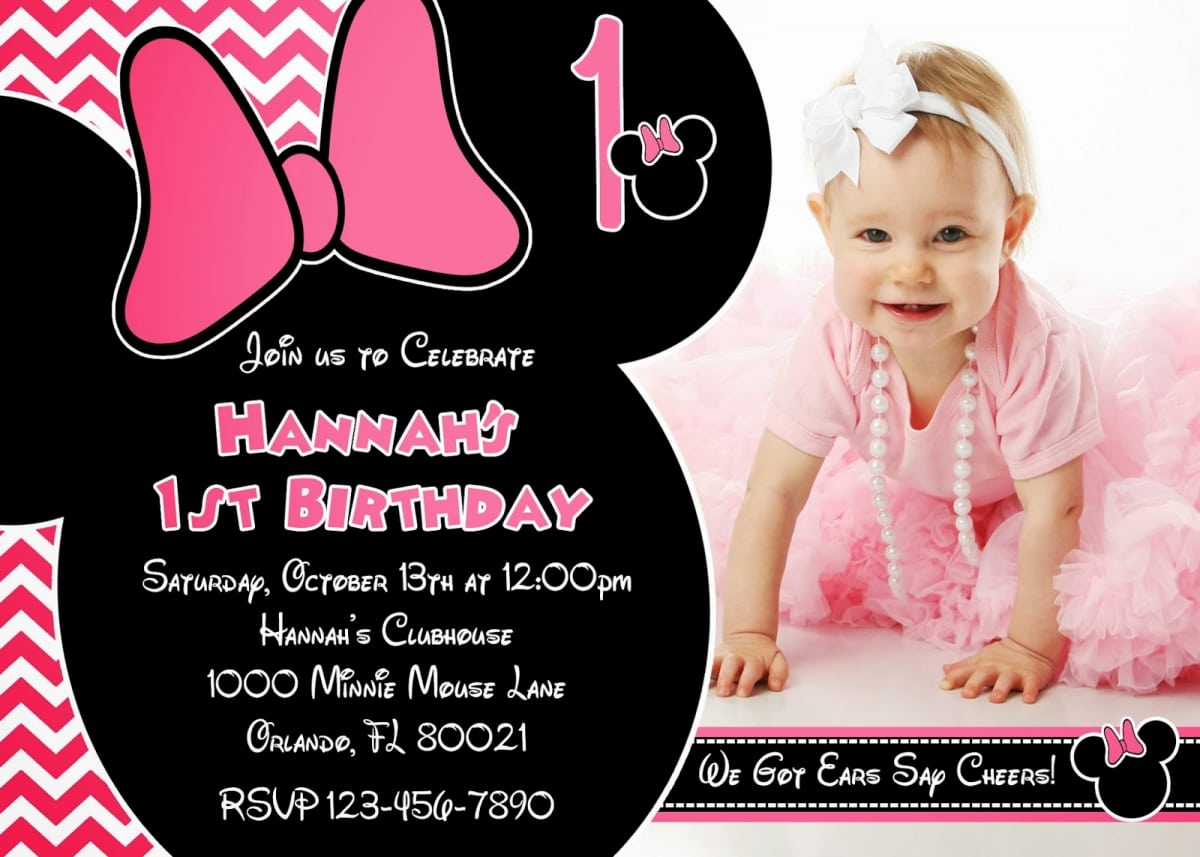 Minnie Mouse 1 Year Old Birthday Party Invitations