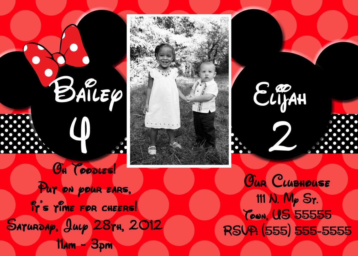 Minnie Mouse And Mickey Mouse Invitations