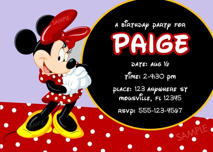 Minnie Mouse Baptism Invitations 2