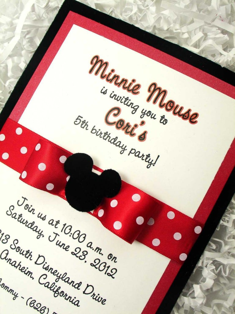 minnie mouse baptism invitations