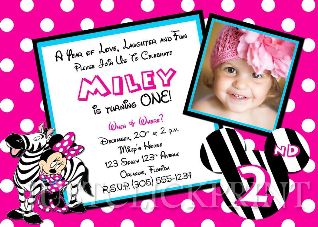 Minnie Mouse Birthday Invitation Wording
