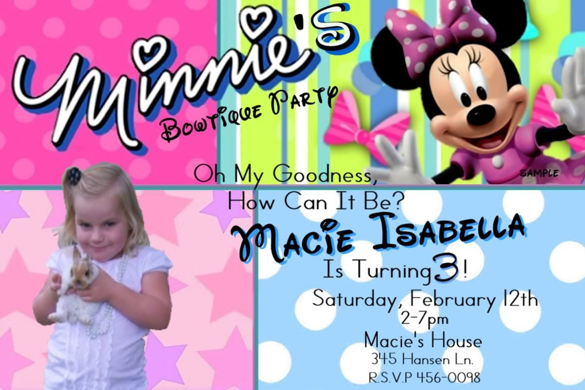 Minnie Mouse Birthday Invitations Free Printable 2