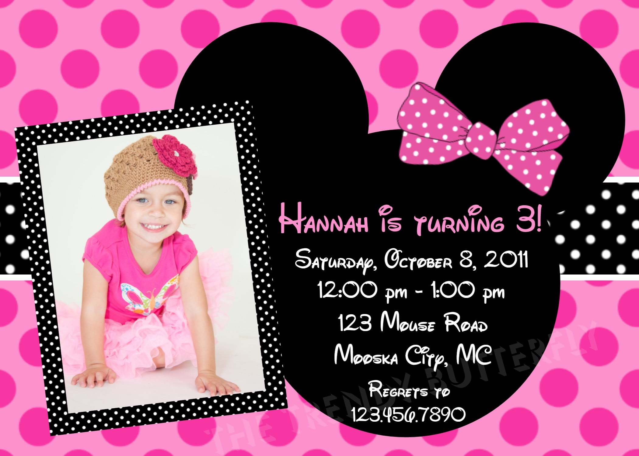 Minnie Mouse Birthday Invite Template 3