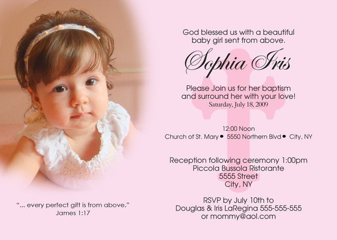 Minnie Mouse Christening Invitations