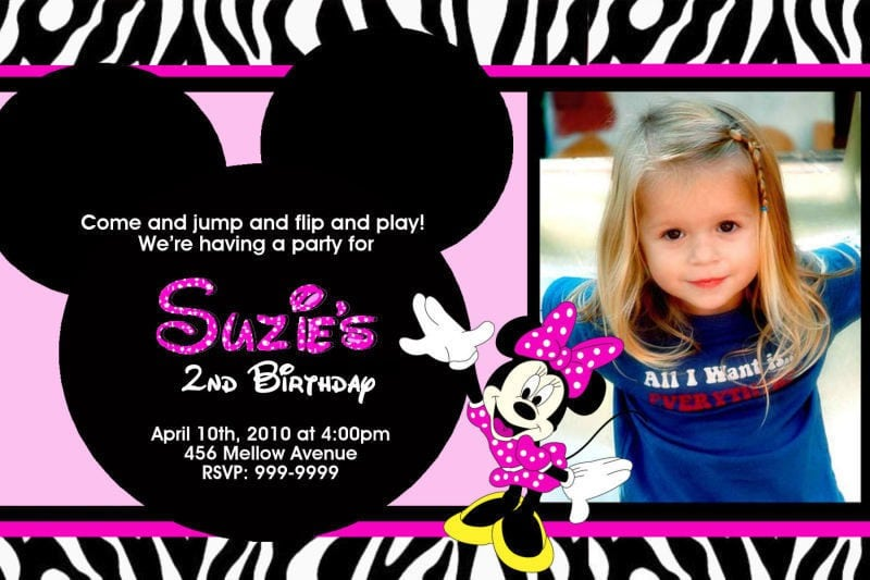 Minnie Mouse First Birthday Invitation Templates 3