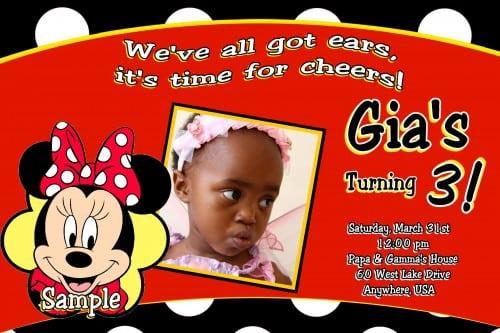 Minnie Mouse Hawaiian Birthday Invitations 2
