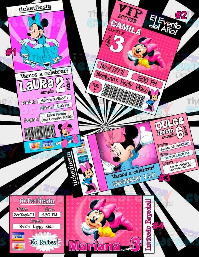 Minnie Mouse Hawaiian Birthday Invitations