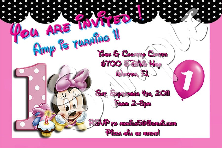 Minnie Mouse Invitation Layout 2