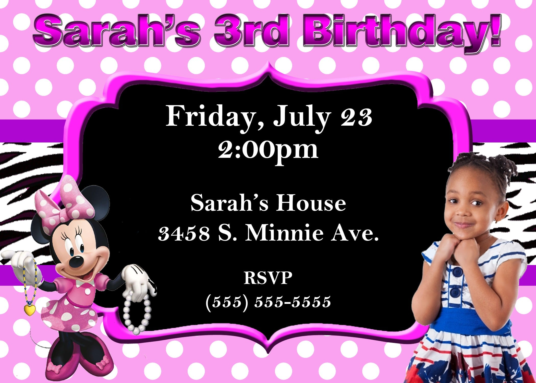 Minnie Mouse Invitation Layout 3