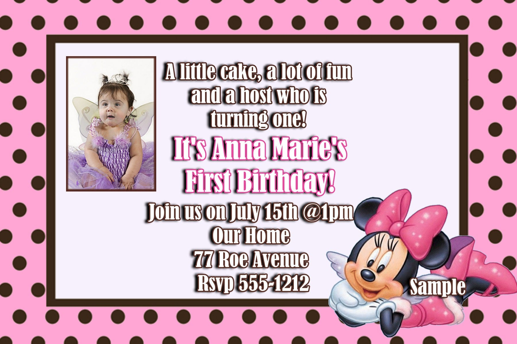 Minnie Mouse Invitation Layout 4