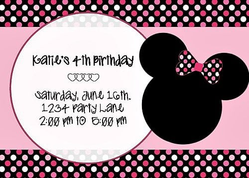 Minnie Mouse Invitation Layout