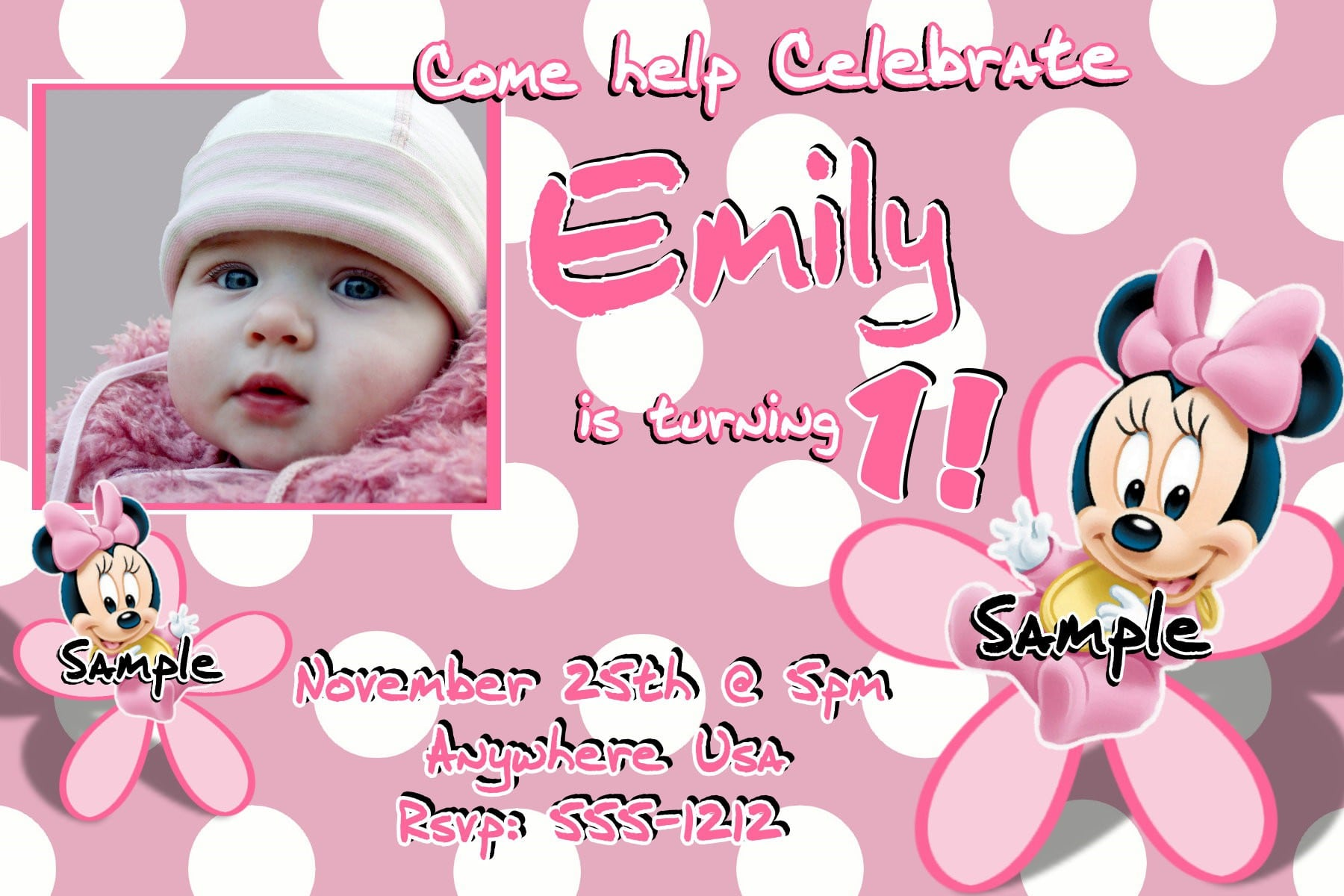 Minnie Mouse Invitation Templates With Picture 2
