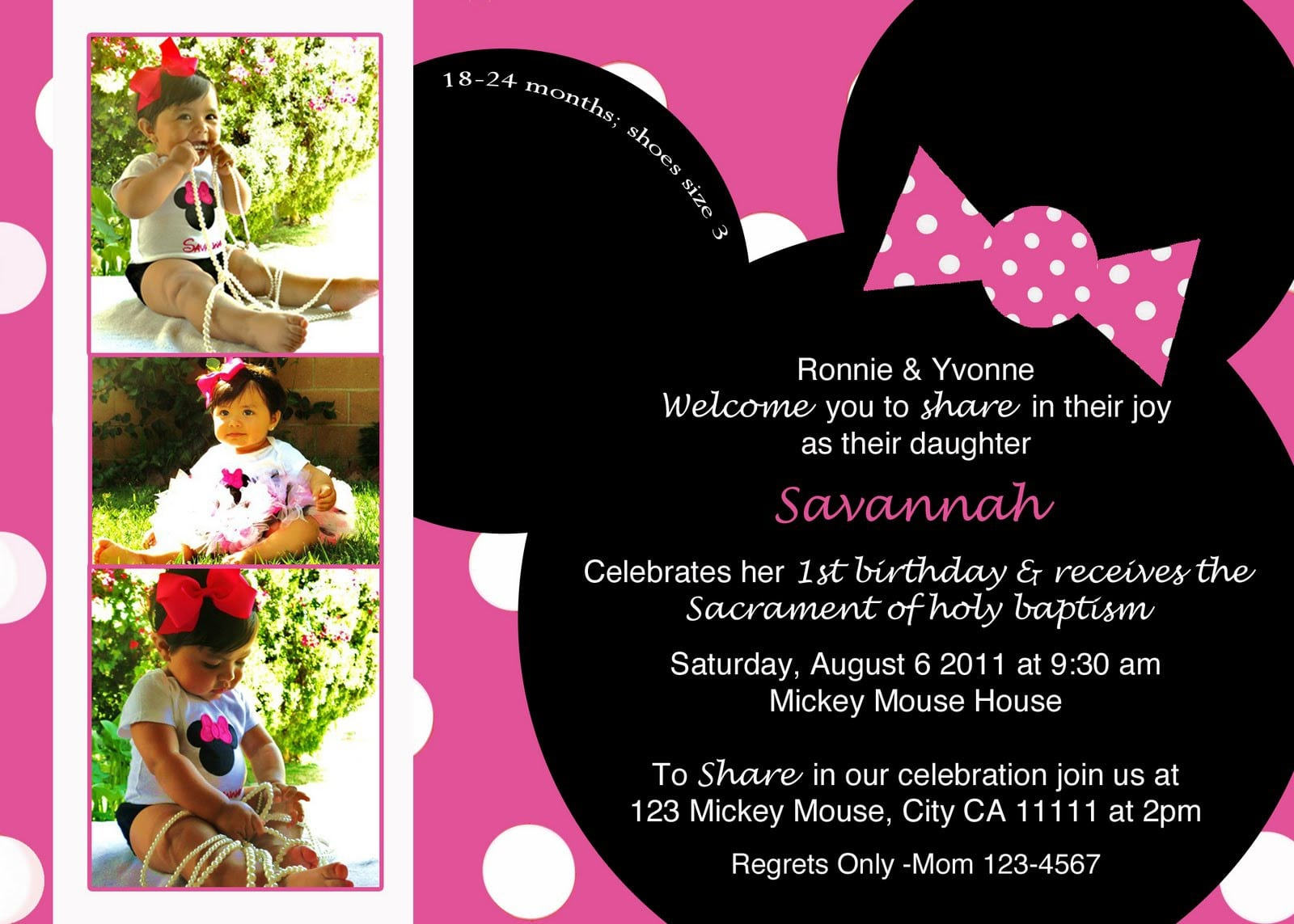 Minnie Mouse Invitations Template Free 2015